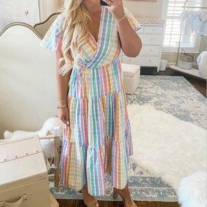 J Crew Faux-wrap dress in rainbow gingham